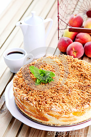 Free Peaches Cheesecake Royalty Free Stock Image - 56399436