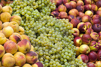 Peaches and grapes on stall
