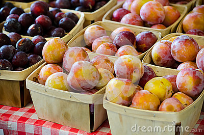 Peaches and plums by the pint