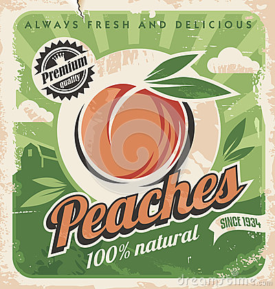 Free Peaches, Vintage Poster Template Royalty Free Stock Photos - 35918958