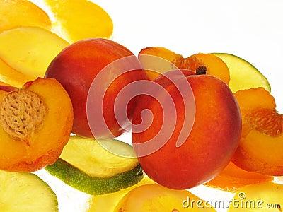 Peaches on white background