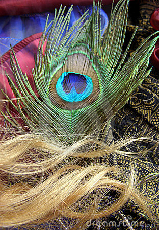 Peacock butterfly and hair