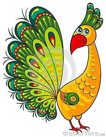 Peacock. Cartoon african wild animal character
