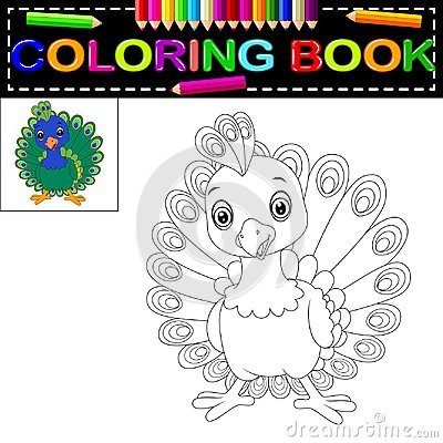 Free Peacock Coloring Book Royalty Free Stock Image - 112335346