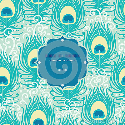 Peacock feathers vector frame seamless pattern