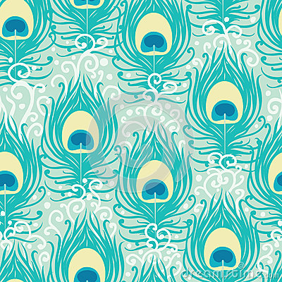 Peacock feathers vector seamless pattern