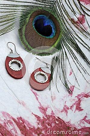 Peacock plume and earrings