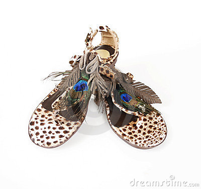 Peacock topped leopard sandals