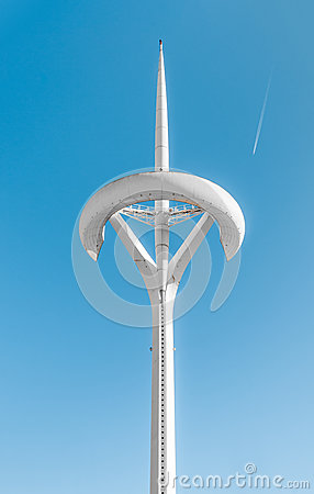 Peak of TV Tower in Barcelona, Spain, Europe. Editorial Photography