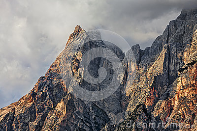 Peaks and Clouds in Dolomites Mountains
