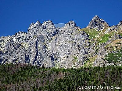 Peaks of Slovak High Tatras at summer