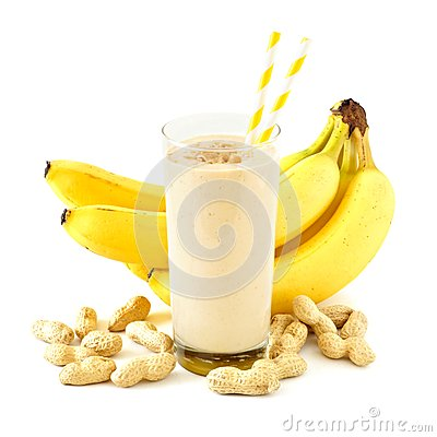 Free Peanut-butter Banana Smoothie With Scattered Ingredients Over White Stock Images - 69958674