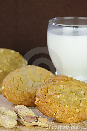Peanut Butter Cookies with Glass of Milk