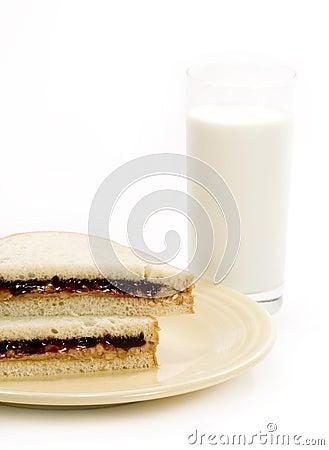 Peanut-butter Sandwich & Milk