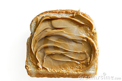 Peanut butter on white bread