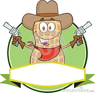 Peanut Cowboy Cartoon Label