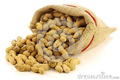 Peanuts in a burlap bag