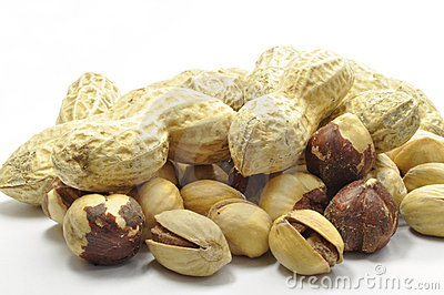 Peanuts and Hazelnuts on white