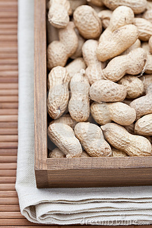 Peanuts known as also as monkey nuts in a pod