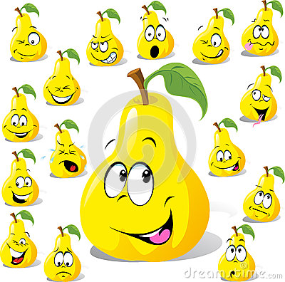 Pear cartoon with many expressions