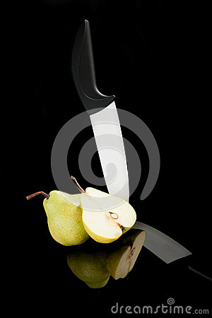Pear and ceramic knife.