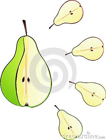Pear cut isolated illustration