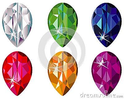 Pear cut precious stones with sparkle