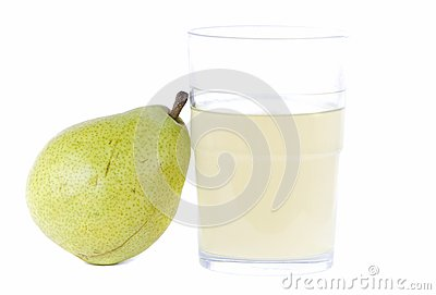 Pear with glass of juice
