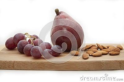 Pear, grapes, almonds