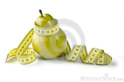 Pear and measuring tape