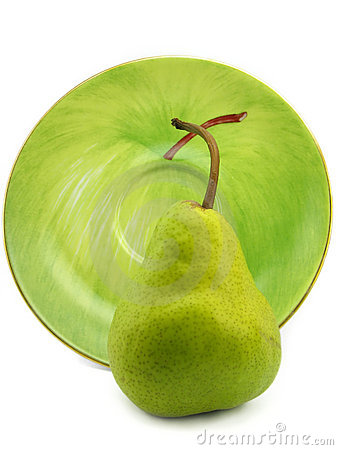 Pear with the plate