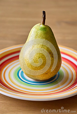 Pear on the plate