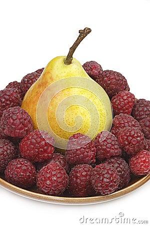 Pear and raspberries