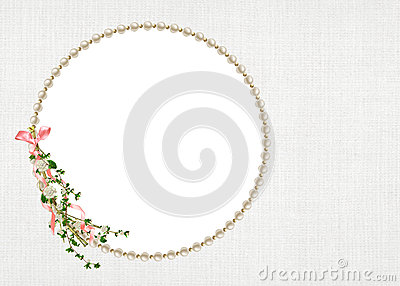 elegant round pearl frame with floral branch and pink bow