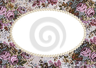 Pearl frame on tapestry