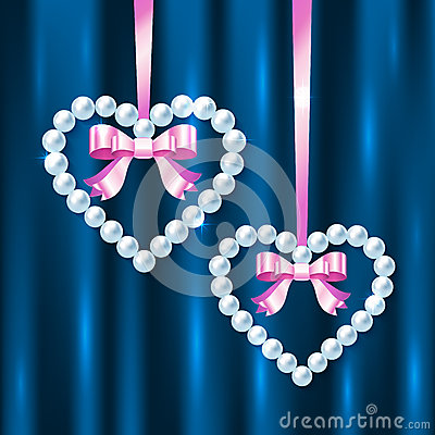 Pearl hearts with pink ribbons and bows