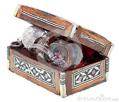 Pearl inlay wooden chest with jewels