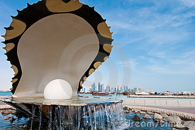 The pearl landmark on the Doha corniche Editorial Image