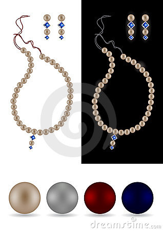 Pearl necklace, earrings and pearls