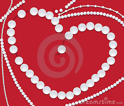 Pearl necklace of heart shape