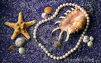 Pearl necklace with seashell and starfishes