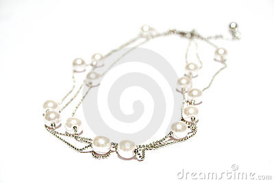 Pearl necklace on white isolated background