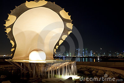 Pearl & Oyster, Corniche, Doha, Qatar at Night