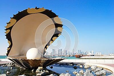 Pearl and oyster fountain in corniche - Doha Qatar