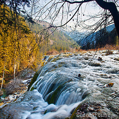 Pearl shoal waterfall in Jiuzhai Valley