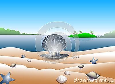 Pearl on tropical beach