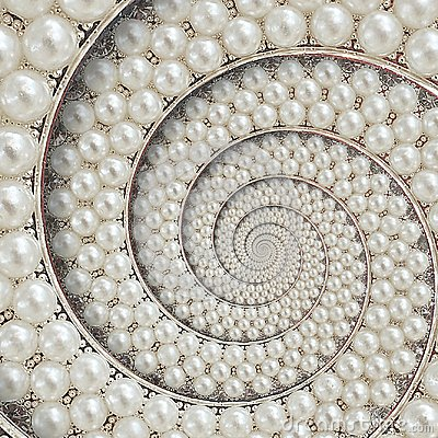 Free Pearls And Diamonds Jewels Abstract Spiral Background Pattern Fractal. Pearls Background, Repetitive Pattern. Abstract Pearl Backg Stock Photo - 109557620