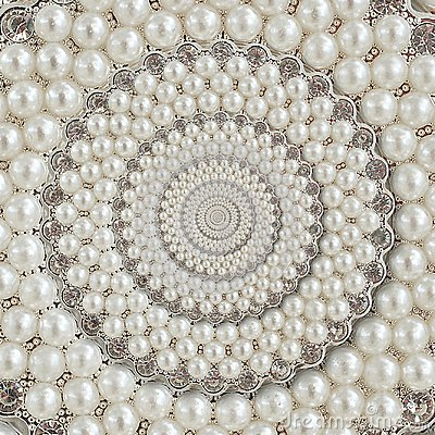 Free Pearls And Diamonds Jewels Abstract Spiral Background Pattern Fractal. Pearls Background, Repetitive Pattern. Abstract Pearl Backg Royalty Free Stock Photo - 109557675