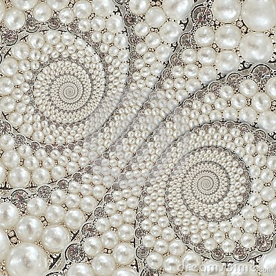 Free Pearls And Diamonds Jewels Abstract Spiral Background Pattern Fractal. Pearls Background, Repetitive Pattern. Abstract Pearl Backg Royalty Free Stock Image - 109557726