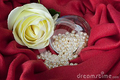 Pearls  on a colored background fabric